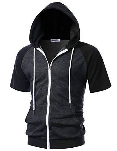 OHOO Mens Slim Fit Short Sleeve Lightweight Raglan Hoodie with Kanga Pocket/DCF137-CHARCOAL/BLACK-S (Best Slim Fit Hoodies)