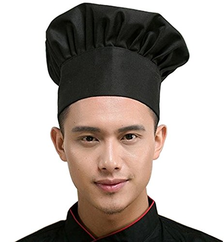 Hyzrz Chef Hat Adult Adjustable Elastic Baker Kitchen Cooking Chef Cap, Black -