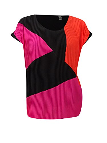 NY Collection Women's Plus Size Pleated Cap Sleeve Color Block Top, Bright Mixsunrise, 2X from NY Collection