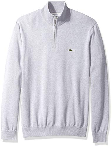 (Lacoste Men's Long Sleeve 1/4 Zip Cotton Mock Neck Sweater, PLUVIER Chine/Flour/Silver XXX-Large)