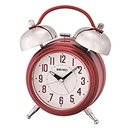 SEIKO Traditional Dual Bell Alarm Clock with Snooze and Light, Red
