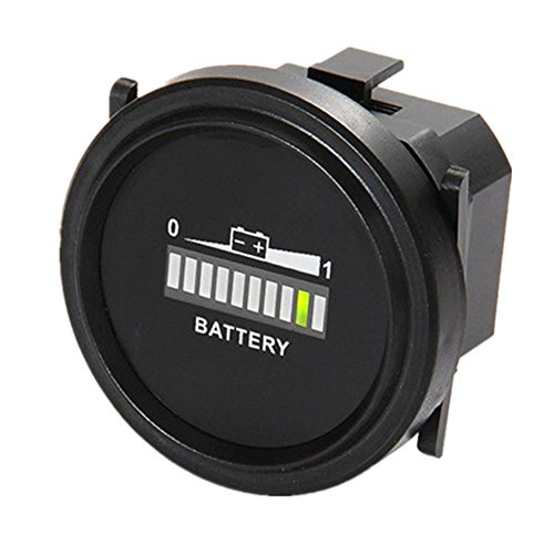 Aimilar Round Digital LED 12V 24V 36V 48V 72V Battery Indicator Meter Gauge Charge Status Monitor Tester for Golf Carts Forklift Car Scooter Motorcycle