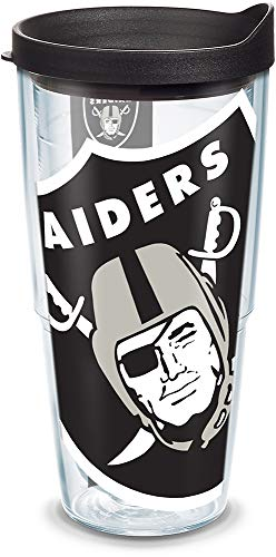 Tervis 1085246 NFL Oakland Raiders Colossal Tumbler with Wrap and Black Lid 24oz, Clear