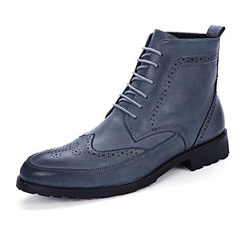 2018 Bottines pour Hommes à Lacets Anti-Dérapant en Cuir PU Doux Haut Chaussures Richelieu Richelieus Homme (Color : Marron, Taille : 41 EU) Bleu