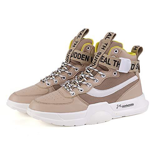 [해외]High-Top Sneakers for Men Casual Retro Lace Up Outdoor Running Canvas Shoes / High-Top Sneakers for Men Casual Retro Lace Up Outdoor Running Canvas Shoes (US:9.5-10, Khaki)