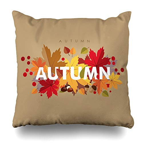 Geericy Decorative Throw Pillow Covers It Autumn Time Typographical Maple Leaf Maple Leaf Chestnut Acorn Rowan Sorb Aspen Basswood Autumn Banned Card Grey Cushion Cover 18X18 Inch for Bedroom Sofa ()
