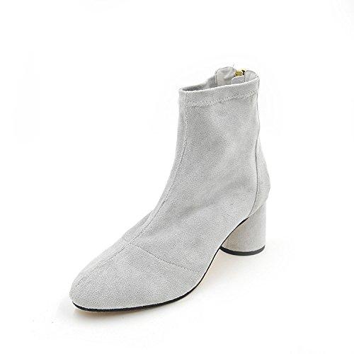 Con sólidos estilo elástica Stretch hembra zapata 35 negrita de minimalista cabeza gruesas desgaste lana botas gris botas redonda con de colores aw1rqaY0