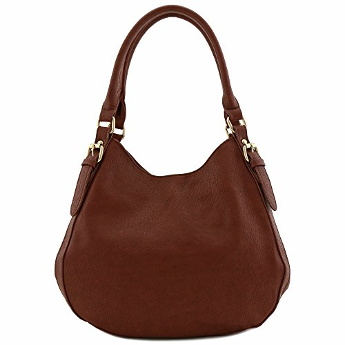 Light-weight 3 Compartment Faux Leather Medium Hobo Bag (Coffee) by FashionPuzzle (Image #1)
