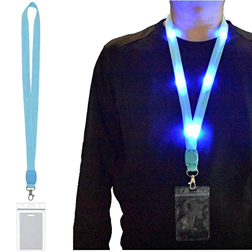 LED Carnival Cruise Lanyard Light Up Flashing Neon Necklace with ID Badge Key Card Holder Heavy Duty VIP Bright Cool Neck Lanyards for Women Men Kids Disney Disneyland Cruise Gifts (1 Pack - Blue) (Id Holder Cool)