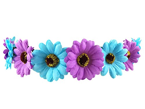 Festie Fever Light Up Blue and Purple Flower Crown with 3 Modes