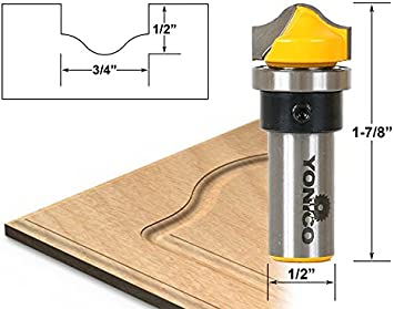 Ogee Groove Router Bit Cutting Diameter: 3//4 Yonico 14974q Cutting Height: 1//2-1//4 Shank