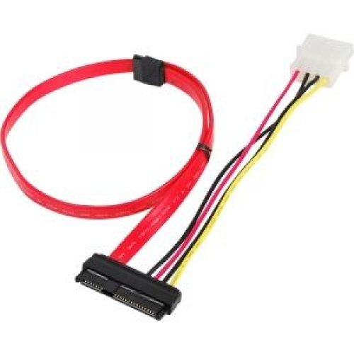 SIIG CB-S20811-S1 SFF-8482 to SATA Cable with LP4 Power - Serial ATA cable - SAS 6Gbit/s - 29 pin internal SAS (SFF-8482) - 4 pin internal power, 7 pin Serial ATA - 1.5 ft - red