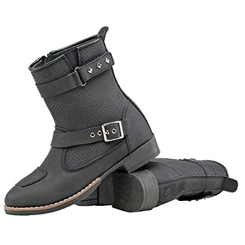 Womens Leather Motorcycle Riding Boots - 6