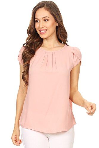 VIA JAY Womens Basic Casual Simple Short Sleeve Blouse TOP (Large, New Mauve)