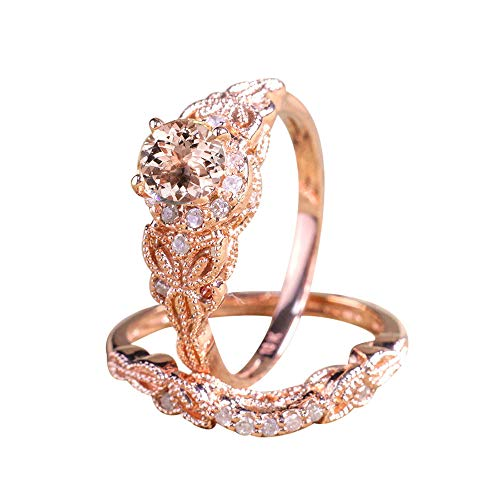 - 2 in 1 Women Round Rhinestone White Diamond Ring Set Wedding Engagement Jewelry Gift (Rose Gold, 8)