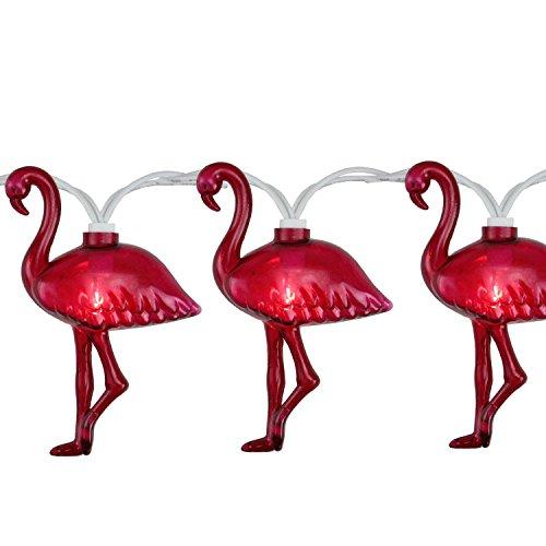 Plastic Flamingo Lights (Set of 10 Pink Flamingo Summer Garden Patio Lights - White Wire)