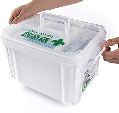 ZT-TTHG 応急処置箱二重層医療ボックス、プラスチックの透明なボックスファーストエイドキット、ピルコンテナケース家庭用品応急処置ボックス、看護師のオフィス