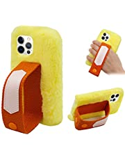 Cestor Furry Plush Case for iPhone 12/12 Pro with Wrist Strap Stand Grip Holder,Cute Winter Warm Handmade Fuzzy Soft Faux Fur Fluffy Silicone Shockproof Case,Yellow
