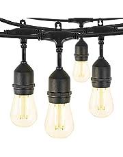 48FT Outdoor String Lights with 15 S14 Edison Light Bulbs-UL Listed Commercial Patio Lights for Deck Backyard Porch Balcony Bistro Cafe Pergola Gazebo Market Garden Decor, Warm White