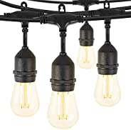 48FT Outdoor String Lights with 15 S14 Edison Light Bulbs-UL Listed Commercial Patio Lights for Deck Backyard