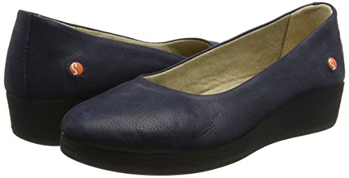 Softinos Women''s Toe Flats 002 Blue Closed navy Asa414sof Ballet rrwqv74d