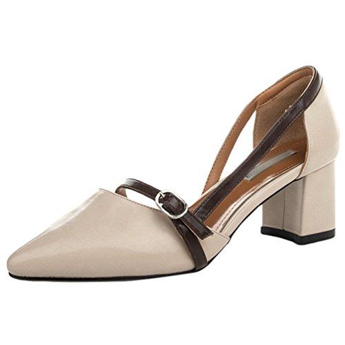 CHENGYANG Damen Schuhe Geschlossen Blockabsatz Knöchelriemen Schnalle Pumps Sandalen Beige#1