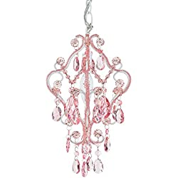 Tiffany Mini Pink 1 Light Chandelier, Small Crystal Beaded Plug-In Swag Nursery Pendant Lighting Fixture Girl's Room Lamp