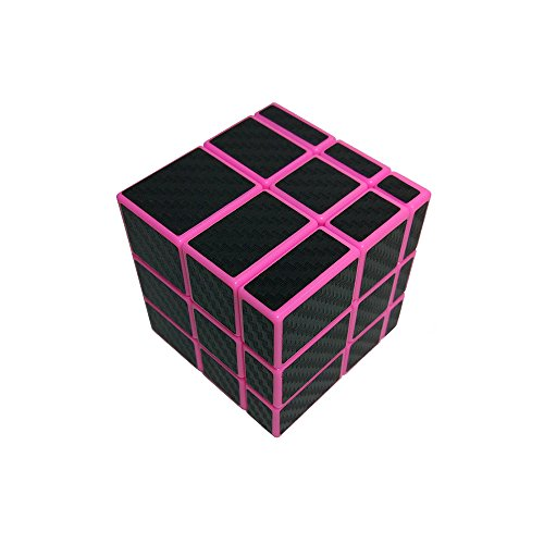 I-xun Smooth 3x3x3 Unequal Magic Cube, Carbon Fiber Sticker 3x3 Mirror Puzzle Cube (Pink)