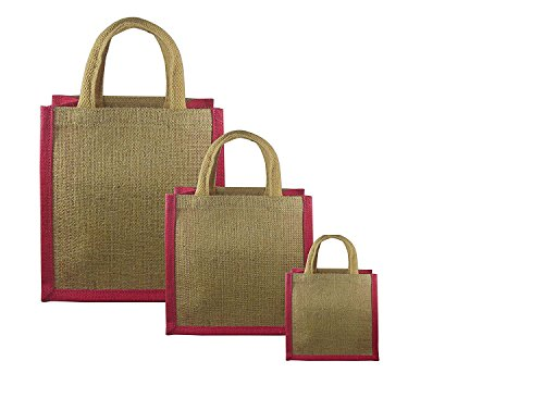 JO'S Jute Burlap Hessian Tote Reusable Bag For Grocery,Shopping,Lunch Bag,Gift Bag ,Multi Purpose Bag (Pack Of 3 - Small,Medium & Large) (Dark Pink)