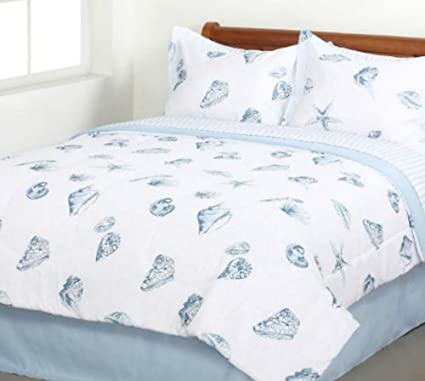 Elegant Seashells, Beach Themed, Nautical King Comforter Set (8 Piece Bed In A Bag