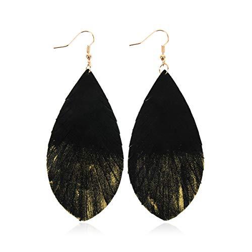(Bohemian Genuine Suede Real Leather Drop Earrings - Lightweight Feather Shape Tassel Dangles Fringe Leaf, Angel Wing (Teardrop Feather Brushstroke - Black/Gold, 3))