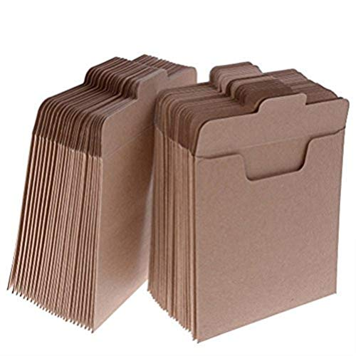 37YIMU 50 Pack CD Sleeves Kraft Paper DVD Envelopes, Khaki Blank CD Paper Cardboard, CD Kraft Paper Storage Holder Covers Packaging Sleeves - 4.9 x 4.9 Inch