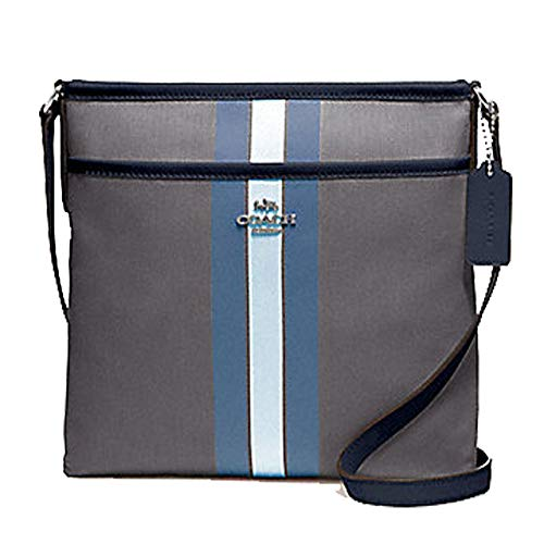 Coach File Crossbody In Signature Jacquard With Varsity Stripe Light Midnight Blue ()