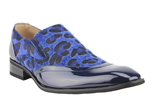 J'aime Aldo Majestic Men's 99525 Exotic Print Faux Pony Hair Leopard Zebra Patent Loafers Shoes, Navy/Navy, 8.5