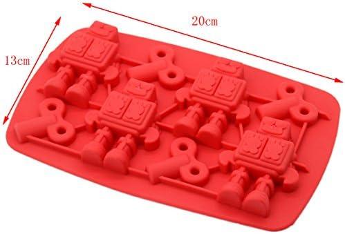 Robot molde de silicona molde Herramientas de hielo molde de chocolate de hielo al azar para el hogar: Amazon.es: Hogar