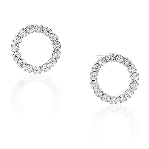 Humble Chic Circle Cubic Zirconia Stud Earrings - Tiny Round Simulated Diamond CZ Rhinestone Hoops Crystal Post Ear Studs, Silver-Tone Tiny Circle, 0.5 inch, Hypoallergenic