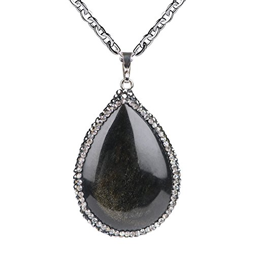 Gold Obsidian (iSTONE Unisex Genuine Stones Gold Obsidian Tear Shaped Gems Pendant Necklace 20'' Steel Chain (Gold2))