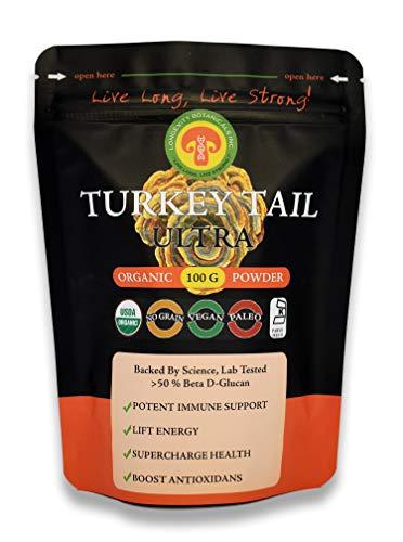 Organic Turkey Tail Mushroom Powder Extract, Adult Strength, 100 Gram 2 Month Supply, Immunity, 50 Beta Glucans, Fruiting Bodies, No Filler, Anti-Viral, Anti-Infection, PSK, Gut, IBS, Digestion