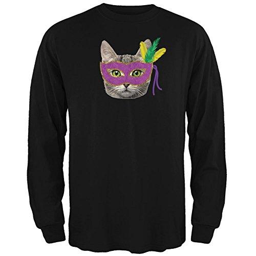 Mardi Gras Themed Outfits (Mardi Gras Mask Funny Cat Black Adult Long Sleeve T-Shirt - Large)