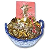 Money Frog Wealth Basket - Four Feng Shui Enhancers for Wealth and Career Prosperity Luck (Home or Office Use)