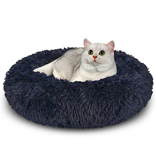 AIPERRO Dog Bed for Small Medium Dogs, Donut Cuddler Fur Round Pet Bed Soft Plush Fluffy Indoor Calming Cat Bed, Anti…
