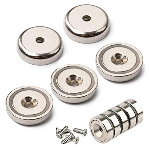 Neodymium Pot Magnets - Bulk Pack of 5 pc- 20+ LB Strength - Countersunk Hole with Mounting Screws ()