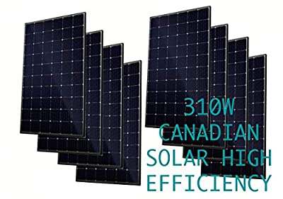 Canadian Solar [8] 310W Monocrystalline Solar Panel Charge Controller Compatible Off-Grid On-Grid Solar System Solar Panel Array High Efficiency