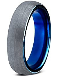 Tungsten Wedding Band Ring 4mm for Men Women Comfort Fit Blue Round Domed Brushed