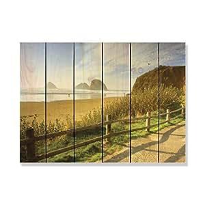 Gizaun Art Coastal paseo arte de pared interior/exterior, Full Color de cedro