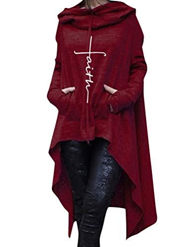 ZJP Women Long Sleeve Faith Letter Print Asymmetric Hem Hoodie Sweatshirt Blosue