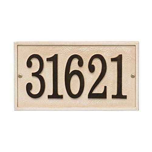 Comfort House Metal Address Plaque - Sand Color Rectangle House Number Sign P3243