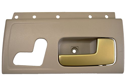 PT Auto Warehouse FO-2385ME-FR - Inside Interior Inner Door Handle, Beige Housing with Chrome Lever (Golden Brush) - Passenger Side Front - Town Car Door Handle