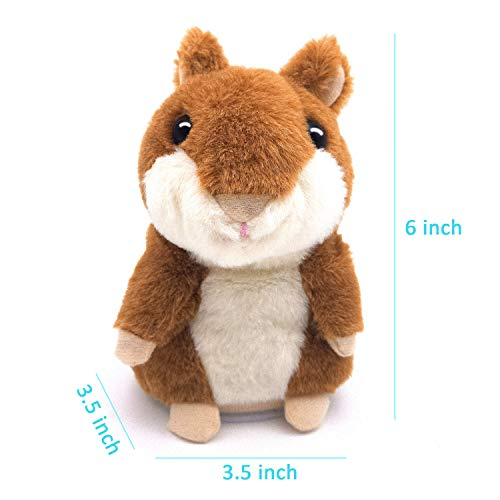Talking Hamster, Repeats What You Say Plush Animal Toy Electronic Hamster Mouse for Boys, Girls & Baby Gift .