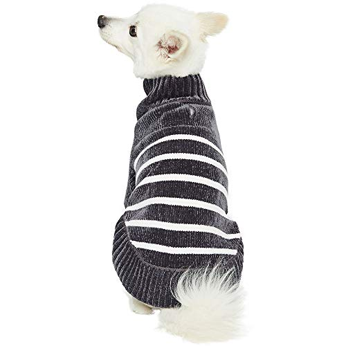 Blueberry Pet 2019 New 6 Colors Cozy Soft Chenille Classy Striped Dog Sweater in Chic Grey, Back Length 12